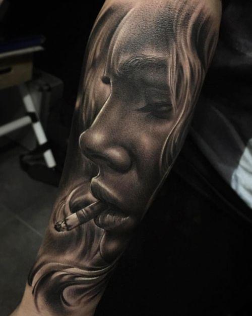 Tattoo by Fred Thomas #fredytattoos #exotictattoomurica #realism #surreal #realistictattoos #MátalosSuavemente #portrait #blackwork