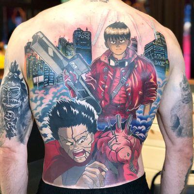 Tattoo by Kimberly Wall aka Bunny Machine #KimberlyWall #BunnyMachine #cartoontattoos #cartoon #oldschool #vintage #oldtv #newschool #Akira #Japanese #city #gun #scifi #color #backpiece