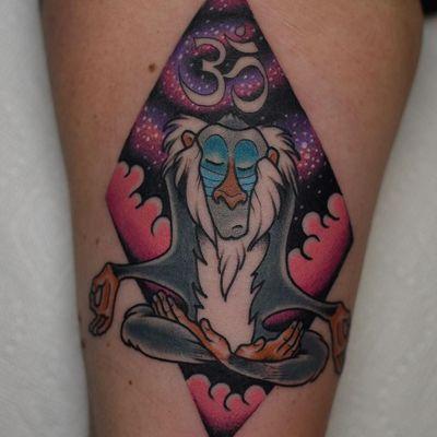 Tattoo by Tony Talbert #TonyTalbert #cartoontattoos #cartoon #oldschool #vintage #oldtv #Rafiki #baboon #LionKing #Disney #om #symbol #galaxy #stars
