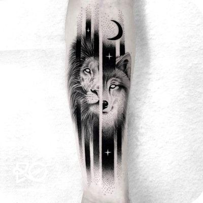 #wolf #lion #hybrid #leon #lobo #hibrido #salvaje #blackandgrey #blackAndWhite #whiteeyes