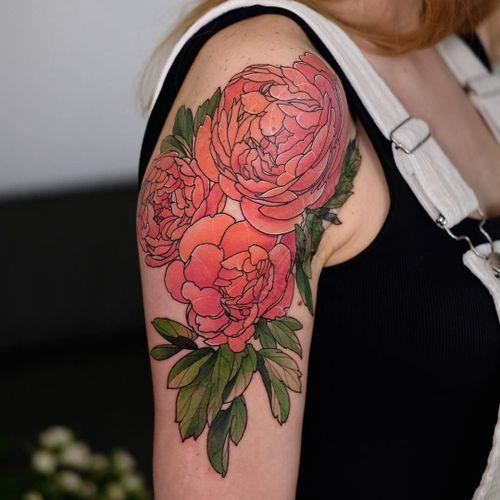 Tattoo by Andrew Borisyuk #AndrewBorisyuk #color #flower #floral #peony #leaves #nature #plant #neotraditional