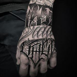 Tattoo by Jerry Tattoo #JerryTattoo #letteringtattoo #lettering #text #quote #font #script #calligraphy #blackandgrey #darkart