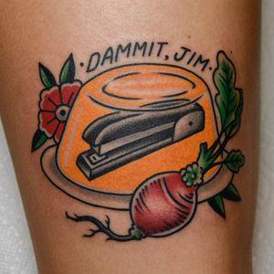 Tattoo by Tony Talbert #TonyTalbert #tvshowtattoo #tvshow #tvtattoo #TheOffice #comedy #beets #stapler #jello #color #traditional