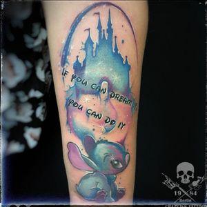 """""""if you can dream it, you can do it """" In diesem Sinne schönes Wochenende... ein #liloandstitchtattoo als #watercolortattoo 📸@crazy.ink.tattoo.berlin⠀⠀⠀⠀⠀⠀ . Achtung!  Diese Woche noch Termine frei!! . Infos wie immer 017627112764 auch WhatsApp...⠀⠀ . http://crazy-ink-tattoo.de . http://facebook.com/crazy.ink.tattoo.berlin . http://instagram.com/crazy.ink.tattoo.berlin . . . . . #tattoo #tattoos #berlin #tattooberlin #berlintattoo #tattoomoabit #crazyink #crazyinkberlin #crazyinktattoo #crazyinktattooberlin #disneytattoo #disneytattoos #aquarelltattoo #tattooed #tattoist #tatted #colortattoo #bodyart  #berlintattooartist #berlintattooartists #classpen #worldfamousink #kwadron  #comictattoo #tattooart #girlswithtattoo #girltattoo #girltattoos"""