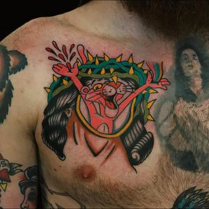 Tattoo by Alex Zampirri #AlexZampirri #AZamp #tvshowtattoo #tvshow #tvtattoo #PinkPanther #cat #Christ #Jesus #crownofthorns #surreal #strange #funny #blood #rainbow #portrait