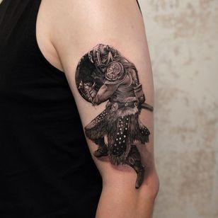 Tattoo by Andrew Borisyuk #AndrewBorisyuk #blackandgrey #portrait #viking #warrior #soldier #detailed #realistic #realism