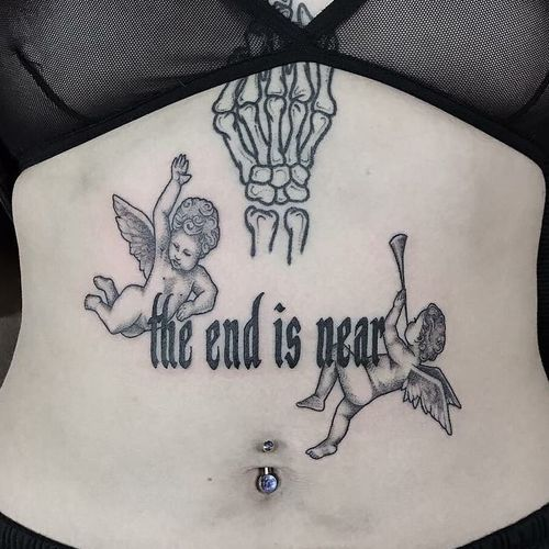 Tattoo by Honeytripper #Honeytripper #letteringtattoo #lettering #text #quote #font #script #calligraphy #angels #cherubs #wings #feathers