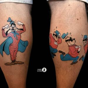 Tattoo by Jamie Luna #JamieLuna #tvshowtattoo #tvshow #tvtattoo #Goofy #Disney #color #cartoon