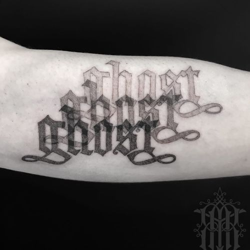 Tattoo by Abby Drielsma #AbbyDrielsma #letteringtattoo #lettering #text #quote #font #script #calligraphy #ghost #blackandgrey