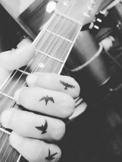 #birds #guitar #fingertattoos #music #nature #thefirstflight