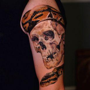 Tattoo by Andrew Borisyuk #AndrewBorisyuk #color #realism #realistic #skull #skeleton #death #snake #reptile #animal #nature