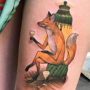 Tattoo by Andrew Borisyuk #AndrewBorisyuk #color #illustrative #neotraditional #fox #animal #glass #champagne #wine #drink #lamp #victorian #dapper #vintage #cute #beautiful