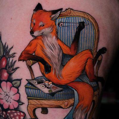 Tattoo by Andrew Borisyuk #AndrewBorisyuk #color #illustrative #neotraditional #fox #sushi #armchair #beautiful #chopsticks #animal #cute #flower
