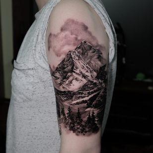 Tattoo by Andrew Borisyuk #AndrewBorisyuk #landscape #realism #realistic #mountains #forest #landscape #nature #sky