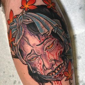 Tattoo by Beau Brady #BeauBrady #JapaneseTattoo #Japaneseinspired #Japaneseinspiredtattoo #Japanesestyle #Japanese #Namakubi #severedhead #blood #mapleleaf #leaves #color