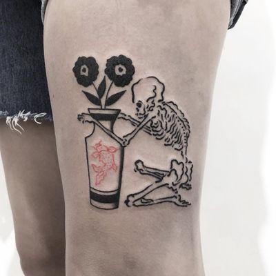 Tattoo by Fimm Ignativ #FimmIgnativ #favoritetattoos #favorite #best #blackwork #Japanese #Japanesestyle #painterly #ink #skeleton #vase #flowers #floral #fish #koi #plant #nature