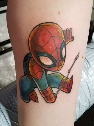 Spiderman on my inner left calf done by Marc Draven of Ink Fusion Empire #spiderman #marvel #acecomiccon #inkfusionempire