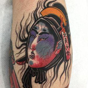 Tattoo by Acetates #Acetates #JapaneseTattoo #Japaneseinspired #Japaneseinspiredtattoo #Japanesestyle #Japanese #Namakubi #severedhead #blood #color