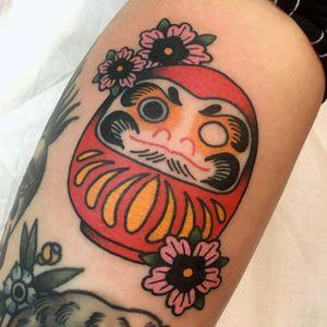 Tattoo by Miss Quartz #MissQuartz #JapaneseTattoo #Japaneseinspired #Japaneseinspiredtattoo #Japanesestyle #Japanese #Daruma #Darumadoll #flowers #floral