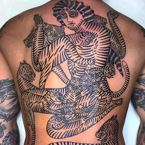 Tattoo by Younes Tattooers #YounesTattooer #favoritetattoos #favorite #best #blackwork #cat #kitty #junglecat #lady #backpiece #catlady