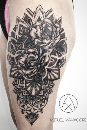 Mandalas and roses in blackwork