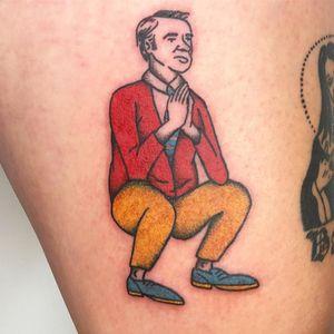 Tattoo by Damn Zippy #DamnZippy #portraittattoo #portrait #color #illustrative #MrRogers #yoga #funny #cute