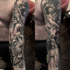 A gothic black and grey sleeve with a little homage to Bernini's work. #blackandgrey #Gothic #angelsanddemons #blackwork #realistic #realism
