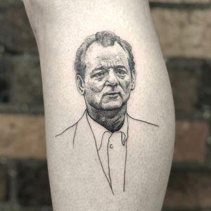 Tattoo by Honeytripper #Honeytripper #portraittattoo #portrait #illustrative #realistic #linework #dotwork #blackandgrey #BillMurray #actor #film #movietattoo