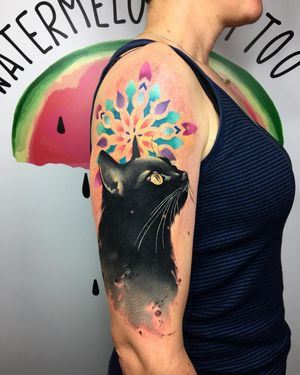 Cover up tattoo by #naiomitattoo at #watermelontattoo #davincicartridges #watercolor #cat #colorfultattoos #coverup
