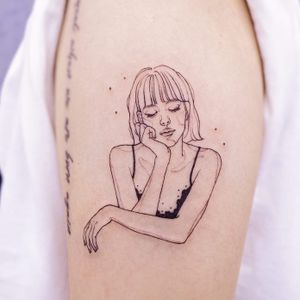 Tattoo by Nanal #NanalTattoo #portraittattoo #portrait #blackwork #illustrative #linework #fineline lady #ladyhead #dreamer