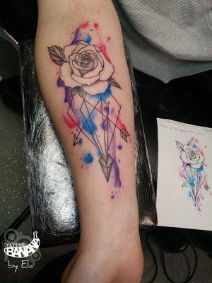 Geometric rose By Ela.#tattoobanana #tattoo #inked #tattooed #tattooink #inkedup #tattoos #tatuajes #tattoolife #tattooartist #thurles #tatuaze #worldfamousink #sabretattoosupplies #eztattooing #irelandtattoostudio #tattooshop #inkbooster #geometrictattoo #watercolortattoo