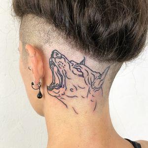 Tattoo by Hand Job Tattoo #HandJobTattoo #animaltattoo #animal #nature #linework #illustrative #blackwork #dog #doberman #headtattoo #scalp