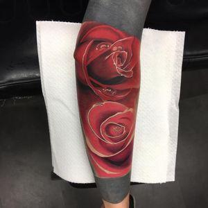 Tattoo by Celio Macedo #CelioMacedo #MotorinkFinest #Amsterdam #bold #graphicart #flower #floral #rose #red #dew