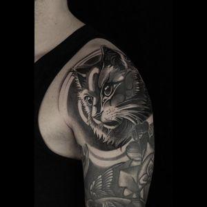 Tattoo by Celio Macedo #CelioMacedo #MotorinkFinest #Amsterdam #bold #graphicart #cat #kitty #petportrait #animal #nature
