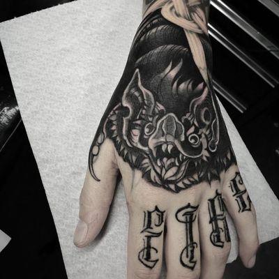 Tattoo by Celio Macedo #CelioMacedo #MotorinkFinest #Amsterdam #bold #graphicart #blackandgrey #bat #animal #handtattoo #lettering