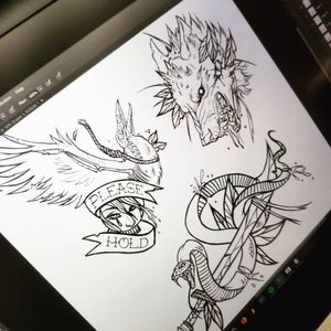 Some flash art of mine. #neotraditional #suicide #serpent #wolf #crow