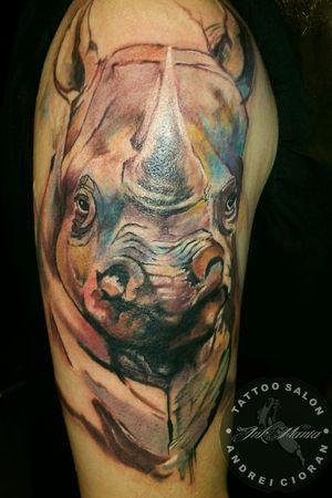 Rinocer tattoo by Andrei Cioran at INK.MANIA Tattoo Salon  #realistictattoos #qualitytattoo #andreicioran