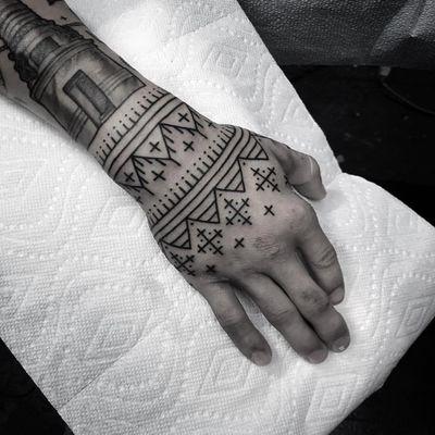 Tattoo by Johno #Johno #patterntattoos #pattern #ornamental #linework #blackwork #design #motif #symbol #tribal #dotwork