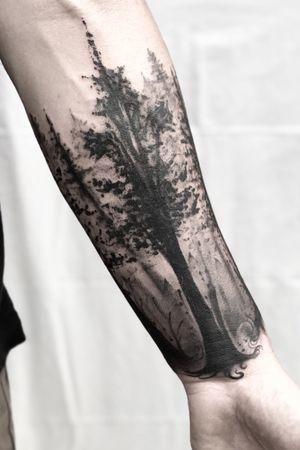 I freakin love nature. These tree silhouettes were done completely freehand. Sometimes its nice to do something simple ;) #tattoooftheday #blackwork #blackandgrey #blackworker #nature #trees #black #sleeve #halfsleeve #austin #texas #houston #dallas #sanantonio #lasvegas #newyork #reno #sanfrancisco #yoricktattoo