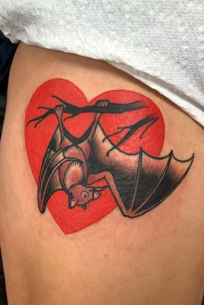 #battattoo #bat #hearttattoo #traditionaltattoo