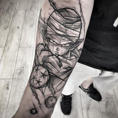Tattoo by Inez Janiak #InezJaniak #dragonballztattoo #dragonballz #dragonball #newschool #anime #manga #DBZ #Piccolo #illustrative #sketch #linework