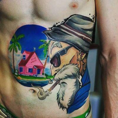Tattoo by Lovas Gabor #LovasGabor #dragonballztattoo #dragonballz #dragonball #newschool #anime #manga #DBZ #kamehouse #MasterRoshi #island #palmtrees #landscape #house #home #cigar