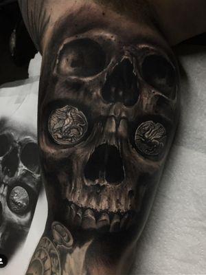 Skull tattoo  #tattoodo #tattoo #skulltattoo #blackandgreytattoos