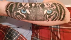 Tiger #tigertattoo #tigerhead #blackAndWhite #blueeyes #tattooed #tattooedwomen #inkedgirl