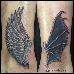 Throwback. Angel and devil wings done on my client few years back. Black and grey piece. Interested in getting a piece of tattoo by me, do contact me at +65 82222604 or mail me at eric.artistica@gmail.com. Cheers!