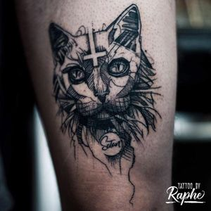 Satan the Cat freestyle tattoo