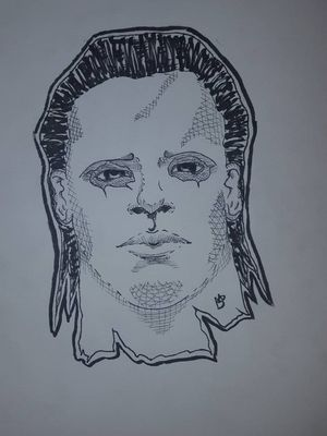 Michael Myers ink drawing #halloweentattoo #sketch #ink #michaelmyers