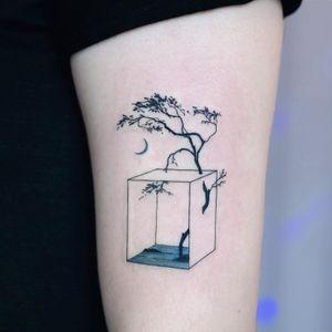 Tattoo by Tattooist Dahh #TattooistDahh #besttattoos #linework #minimal #fineline #tree #moon #landscape #surreal #strange