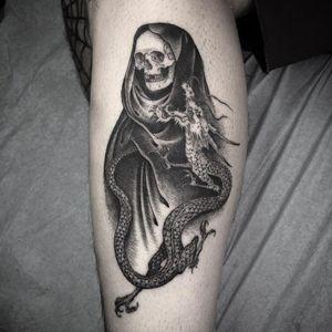 Tattoo by Nathan Kostechko #NathanKostechko #detailedtattoos #detailed #intricate #reaper #skeleton #skull #dragon #death #japanese