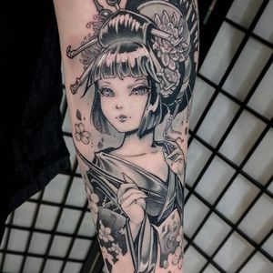 Tattoo by Hori Benny #HoriBenny #detailedtattoos #detailed #intricate #geisha #lady #anime #manga #cherryblossom #illustrative #floral #flowers #portrait